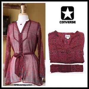 CONVERSE SHEER BUTTON DOWN SHIRT TIE-FRONT BLOUSE